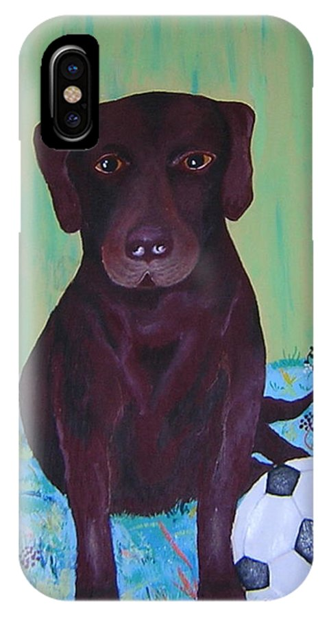 Dog IPhone X Case featuring the painting Rocky by Valerie Josi