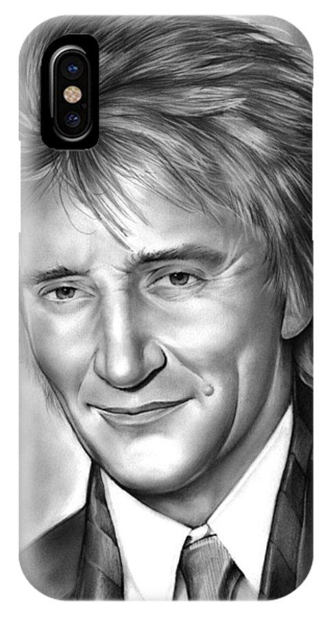 Rod Stewart IPhone X Case featuring the drawing Rod Stewart by Greg Joens