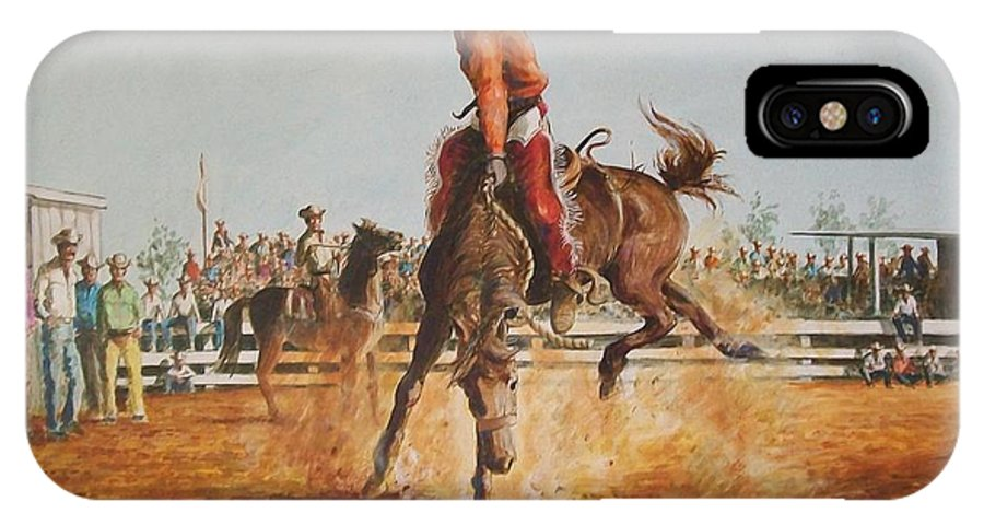 Horse IPhone Case featuring the painting Rodeo by Perrys Fine Art