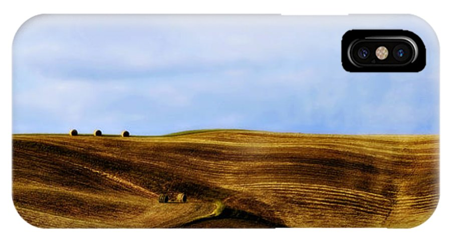 Italy IPhone X Case featuring the photograph Rolling Hills Of Hay by Marilyn Hunt