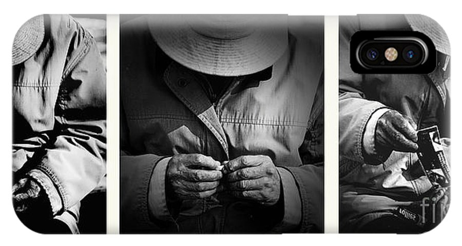 Rollup Rolling Cigarette Smoker Smoking Man Hat Monochrome IPhone X / XS Case featuring the photograph Rolling His Own by Sheila Smart Fine Art Photography