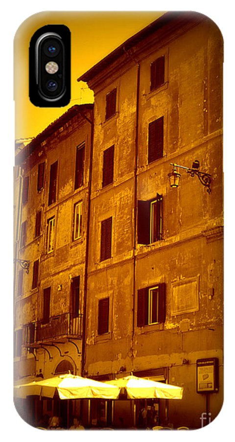 Italy IPhone X Case featuring the photograph Roman Cafe With Golden Sepia 2 by Carol Groenen