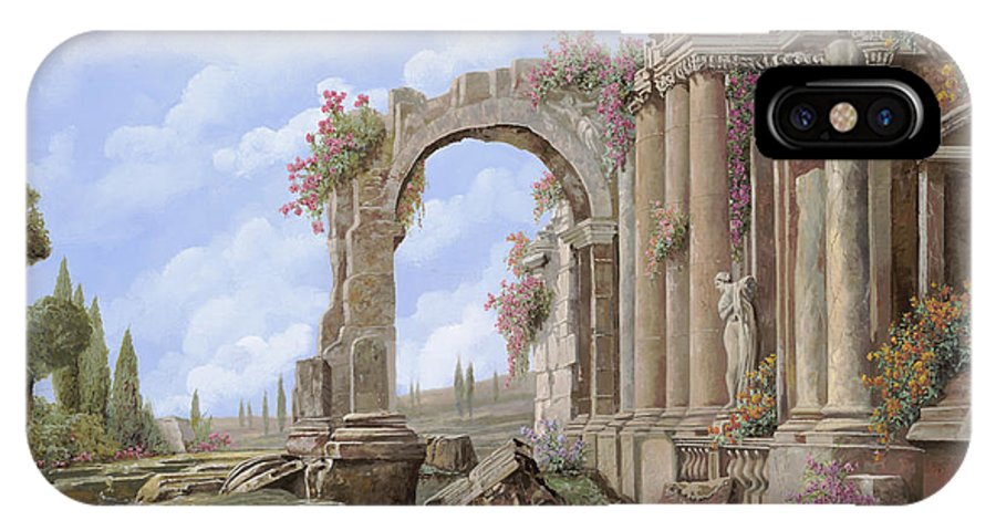 Arch IPhone X Case featuring the painting Roman Ruins by Guido Borelli