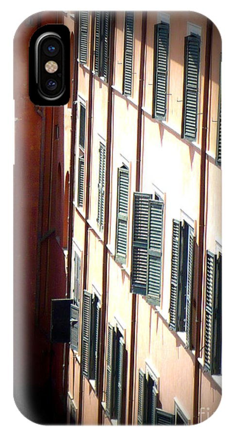 Rome IPhone X Case featuring the photograph Roman Windows by Carol Groenen