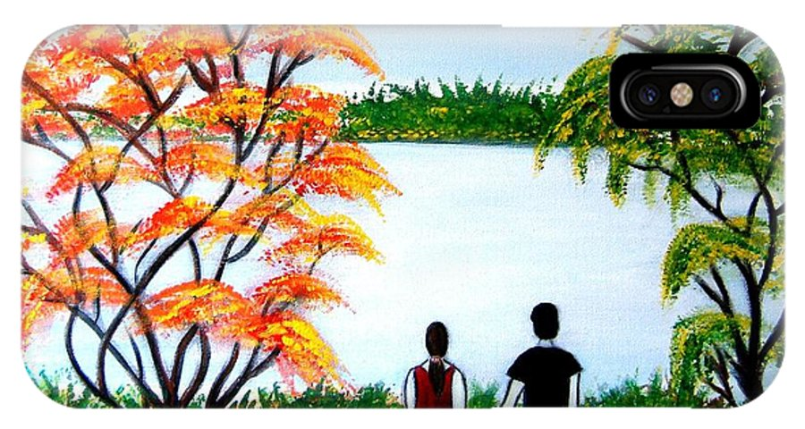 Romance Figures Autumn Orange Trees Green Pop Water Lake Love Valentine Yellow Lake Spring Bloom IPhone X Case featuring the painting Romance In Autumn by Manjiri Kanvinde