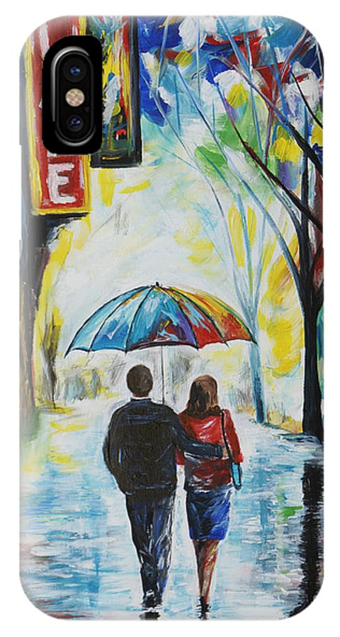 Couple IPhone X Case featuring the painting Romantic Night Out by Leslie Allen