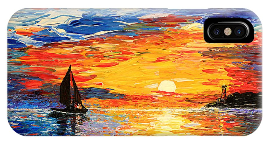Seascape IPhone X Case featuring the painting Romantic Sea Sunset by Georgeta Blanaru