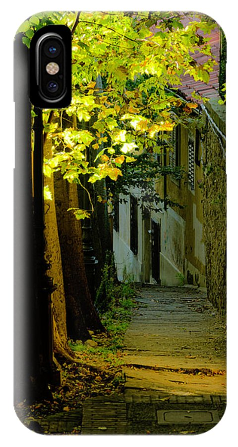 Sidewalk IPhone X / XS Case featuring the photograph Romantic Sidewalk by Wolfgang Stocker