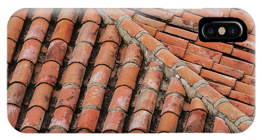 Red Roof Tiles IPhone X Case featuring the photograph Roof Tiles And Mortar by Bob Phillips