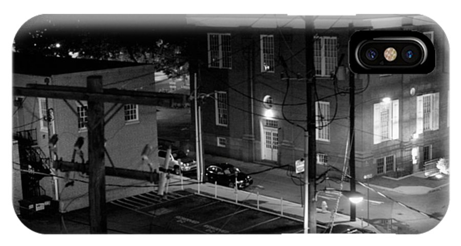 Black White IPhone X / XS Case featuring the photograph Rooftop Court by Jean Macaluso