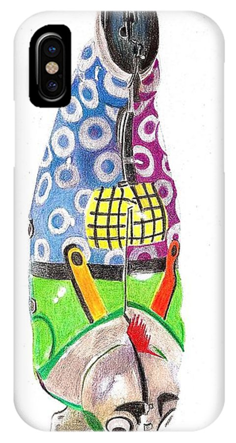 Drawing IPhone X Case featuring the drawing Rooster Clown by Glenda Zuckerman