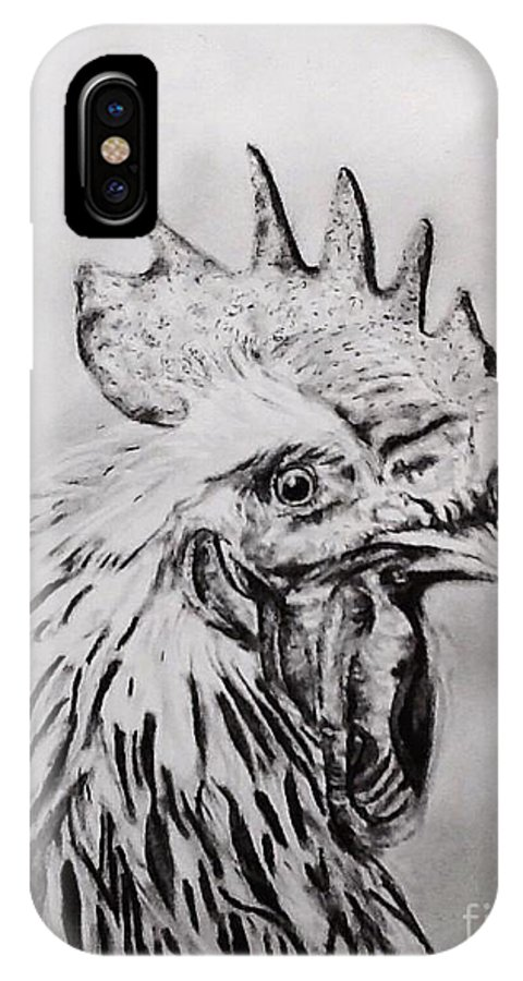Rooster IPhone X Case featuring the drawing Rooster by Regan J Smith