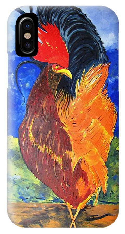 Water IPhone X Case featuring the painting Rooster With Attitude by Gary Smith