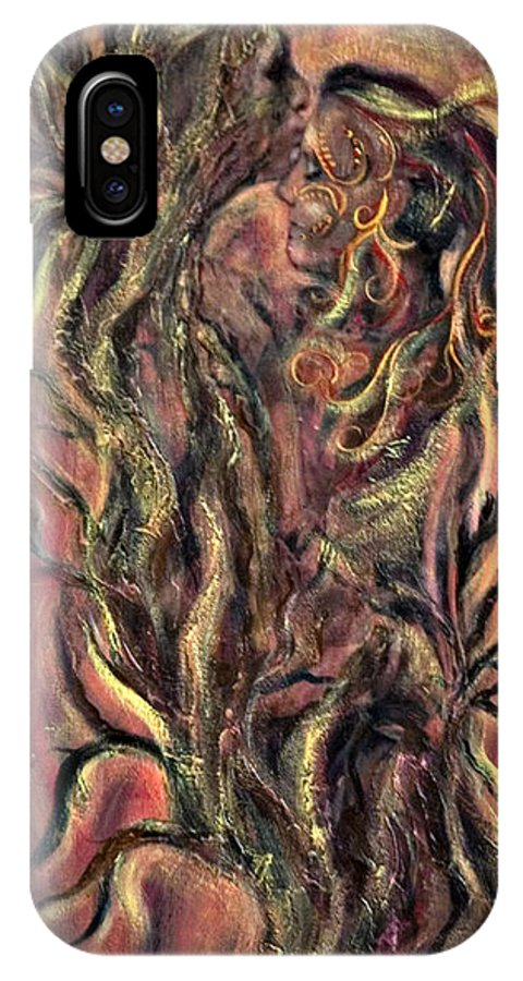 Tree IPhone X / XS Case featuring the mixed media Roots by Jacqueline Milner