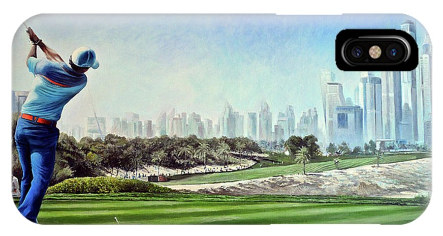 Rory Mcilroy IPhone X Case featuring the painting Rory At Ddc Emirates Gc Dubai 8th 2014 by Mark Robinson