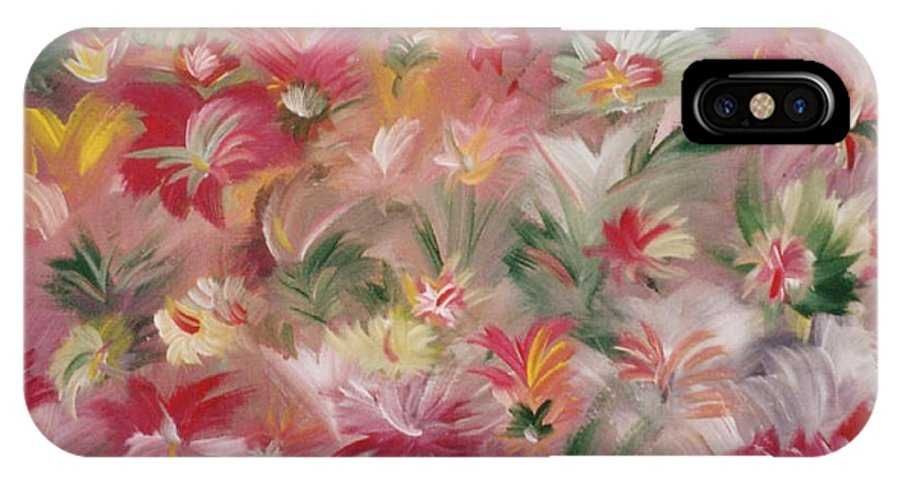 Flowers IPhone X Case featuring the painting Rosa Bluetenmeer by Michael Puya