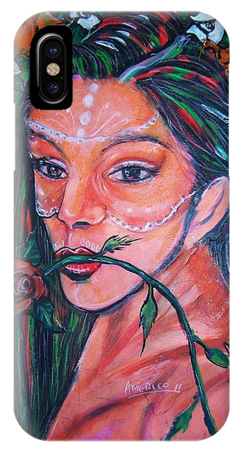 Latina IPhone Case featuring the painting Rosales Latina by Americo Salazar