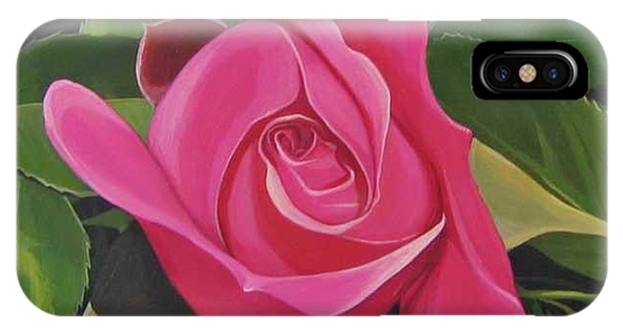 Pink Rose IPhone X / XS Case featuring the painting Rose Arcana by Hunter Jay