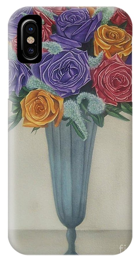Rose IPhone X Case featuring the painting Rose Bouquet by Emily Young
