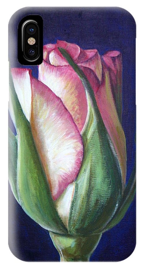 Rose IPhone X Case featuring the painting Rose Bud by Fiona Jack