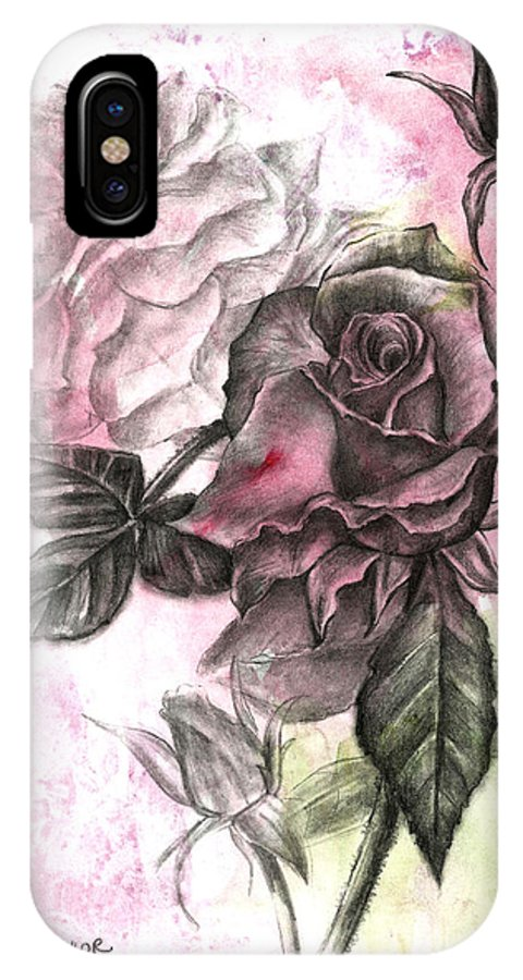 Floral IPhone X / XS Case featuring the drawing Rose Bud Pink by Trish Taylor Ponappa