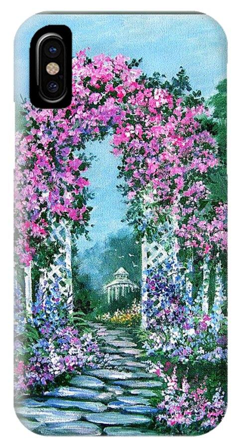 Roses;floral;garden;picket Fence;arch;trellis;garden Walk;flower Garden; IPhone Case featuring the painting Rose-covered Trellis by Lois Mountz