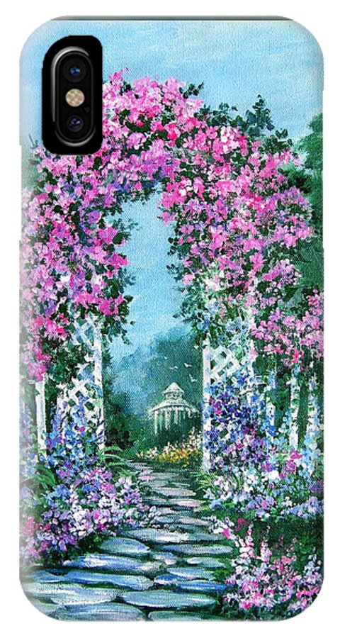 Roses;floral;garden;picket Fence;arch;trellis;garden Walk;flower Garden; IPhone X Case featuring the painting Rose-covered Trellis by Lois Mountz