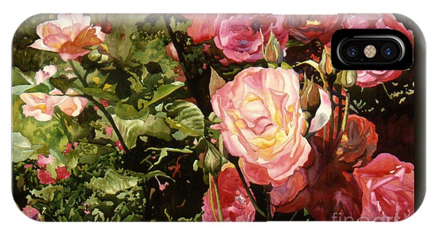 Watercolor IPhone X Case featuring the painting Rose Garden by Teri Starkweather