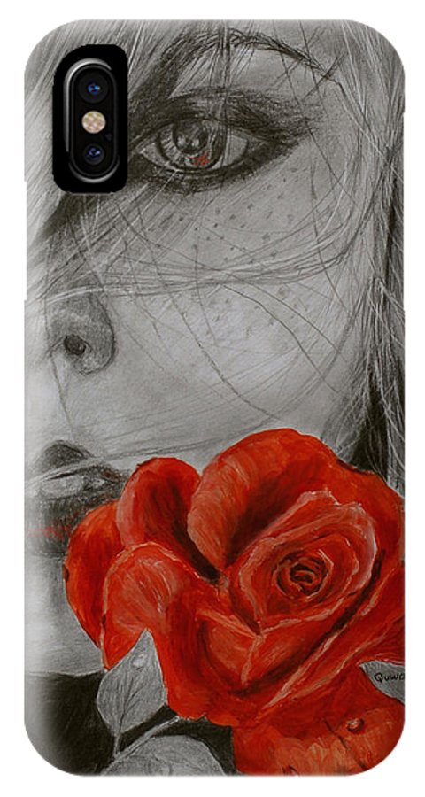 Woman IPhone X Case featuring the painting Rose Kisses by Quwatha Valentine