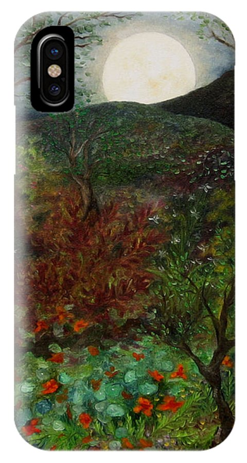 Forest IPhone X Case featuring the painting Rose Moon by FT McKinstry