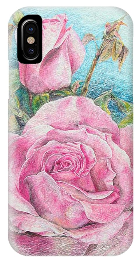 Flower IPhone X Case featuring the painting Rose by Muriel Dolemieux