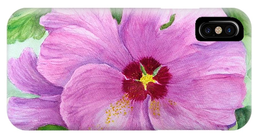Watercolour IPhone X Case featuring the painting Rose Of Sharon by Peggy King