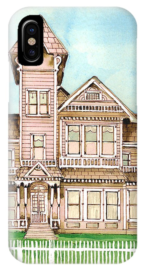 Victorian Inn IPhone X Case featuring the painting Rose Victorian Inn - Arroyo Grande Ca 1886 by Arline Wagner