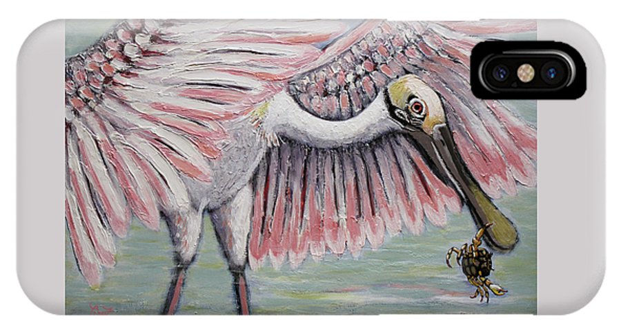 Roseate Spoonbill IPhone X / XS Case featuring the painting Roseate Spoonbill On The Foggy Laguna Madre by Elizabeth Lisy Figueroa