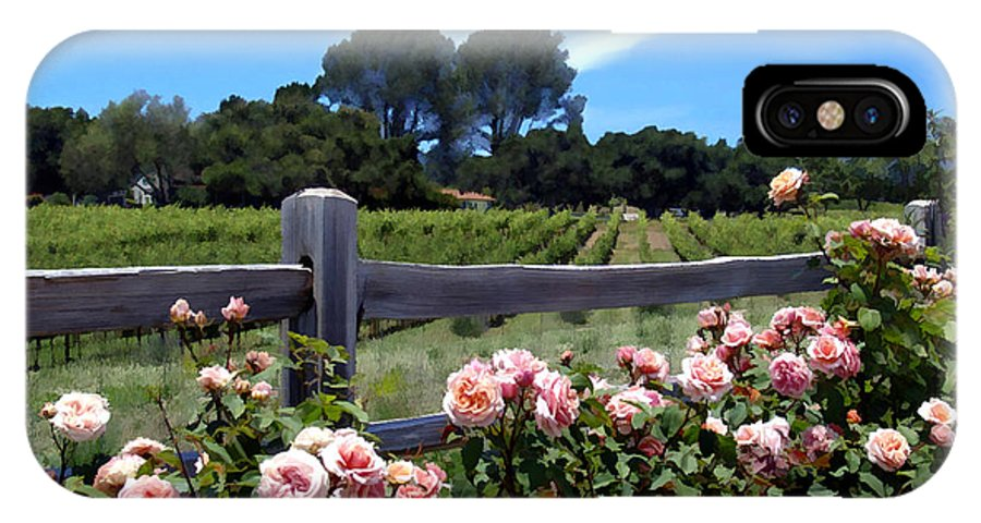 Flowers IPhone X Case featuring the photograph Roses At Rusack Vineyards by Kurt Van Wagner