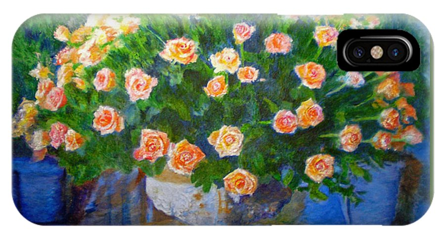 Rose IPhone X / XS Case featuring the painting Roses At Table Bay by Michael Durst