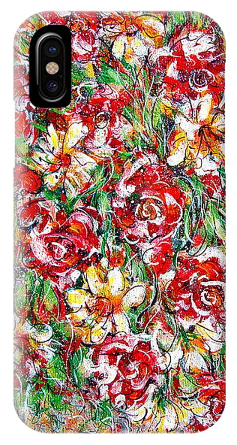 Red Roses IPhone X Case featuring the painting Roses For You by Natalie Holland