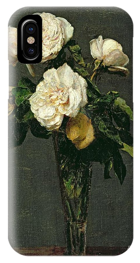 Roses IPhone X Case featuring the painting Roses In A Champagne Flute by Ignace Henri Jean Fantin-Latour