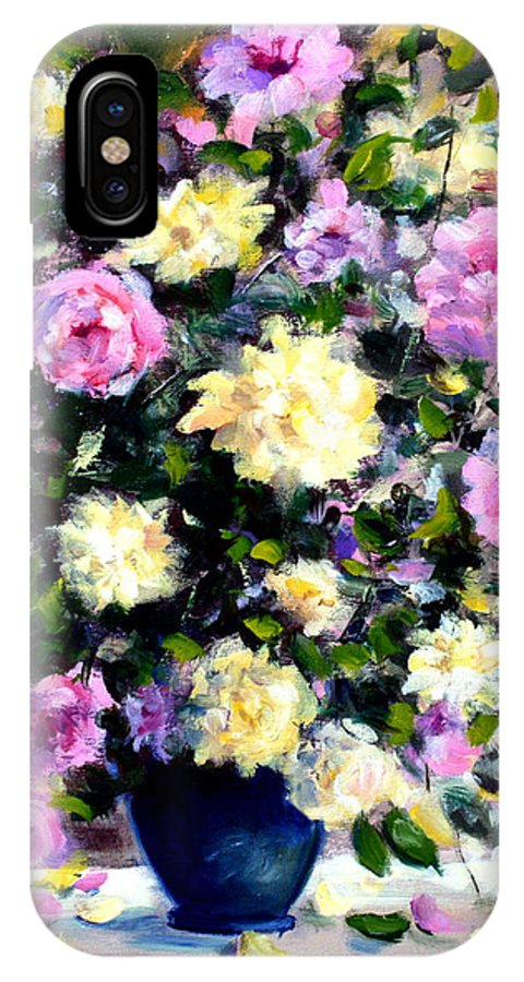Roses IPhone X Case featuring the painting Roses by Mario Zampedroni
