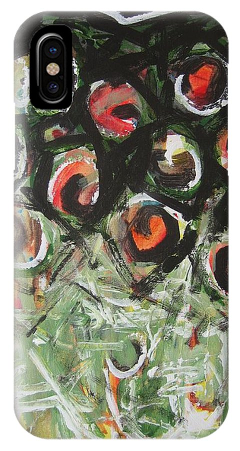 Abstract Painting IPhone X Case featuring the painting Roses by Seon-Jeong Kim