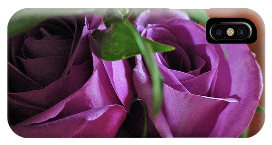 Green IPhone X Case featuring the photograph Roses Up Close by Linda Seacord