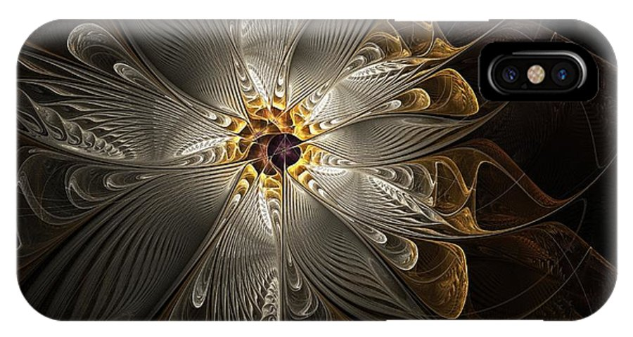 Digital Art IPhone Case featuring the digital art Rosette In Gold And Silver by Amanda Moore