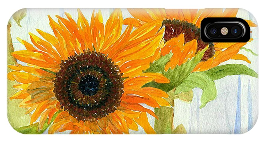 Sunflower IPhone X Case featuring the painting Rosezella's Sunflowers by Anne Marie Brown