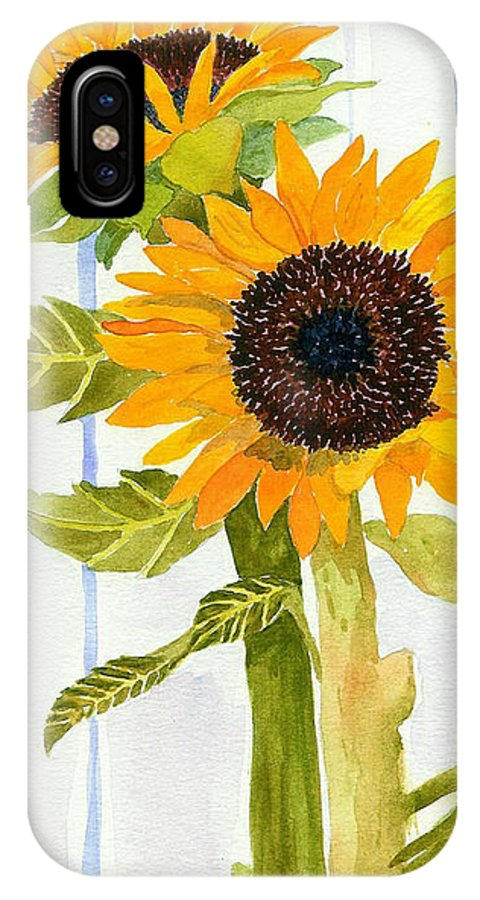 Sunflower IPhone X Case featuring the painting Rosezella's Sunflowers II by Anne Marie Brown