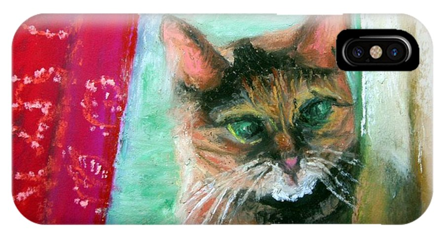 Cat IPhone X Case featuring the painting Rosy In Color by Minaz Jantz
