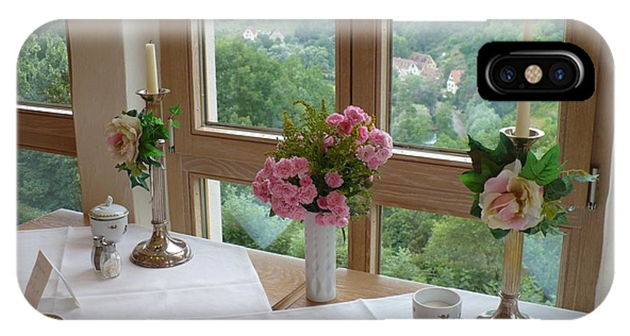 Rothenburg IPhone X Case featuring the photograph Rothenburg Dining With A View by Carol Groenen