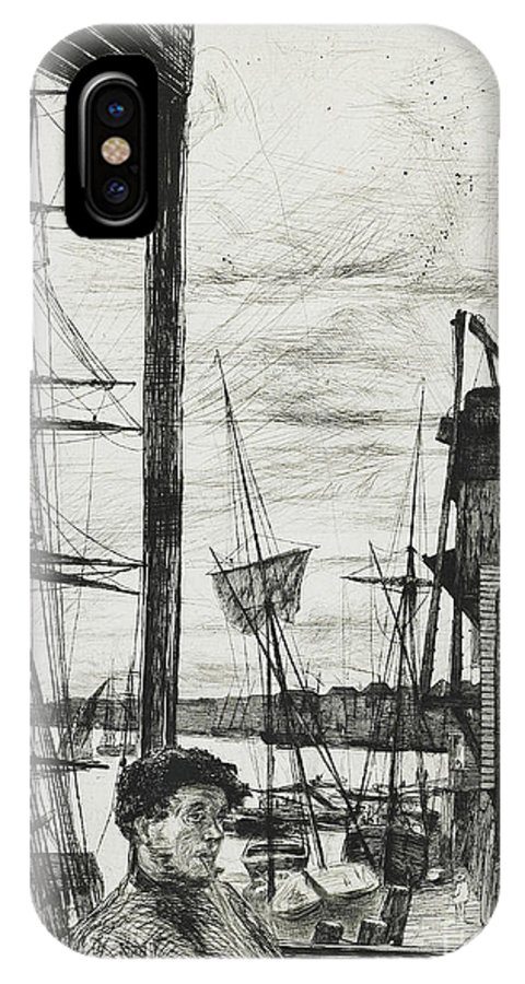 Whistler IPhone X Case featuring the drawing Rotherhithe by James Abbott McNeill Whistler