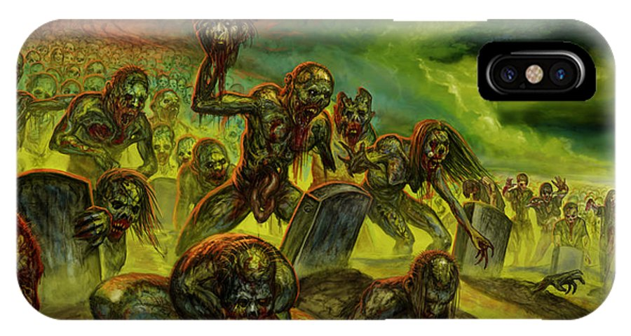 Zombies IPhone X Case featuring the mixed media Rotten Souls Taint The Land by Tony Koehl