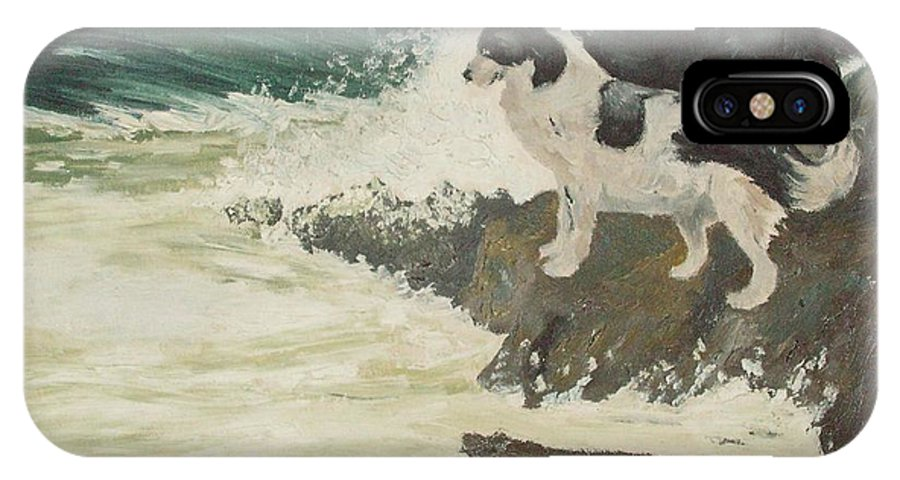 Wild Sea IPhone X / XS Case featuring the painting Roughsea by Terry Frederick
