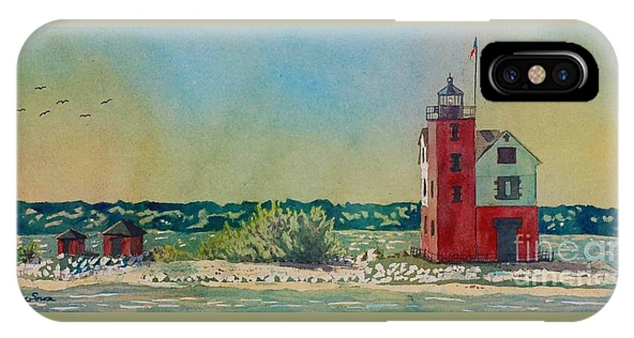 Michigan IPhone X Case featuring the painting Round Island Lighthouse, Lighthouse Painting, Lighthouse Print, Mackinaw Island by LeAnne Sowa